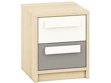 Jugendzimmer - Nachtkästchen Greeley 13, Farbe: Buche / Weiß / Platingrau - Abmessungen: 48 x 40 x 40 cm (H x B x T), mit 2 Schubladen