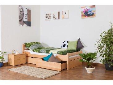 Einzelbett / Gästebett Easy Premium Line K1/2n inkl. 2 Schubladen und 2 Abdeckblenden, 90 x 200 cm Buche Vollholz massiv Natur