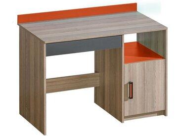 Jugendzimmer - Schreibtisch Marcel 08, Farbe: Esche Orange / Grau / Braun - Abmessungen: 85 x 110 x 55 cm (H x B x T)