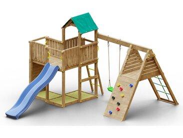 Spielturm K15 inkl. Wellenrutsche, Einzelschaukel, 3 Sandkästen, Kletterwand, Terrasse und Klettergerüst FSC®
