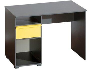Jugendzimmer - Schreibtisch Jakob 13, Farbe: Anthrazit / Gelb - 78 x 110 x 53 cm (H x B x T)