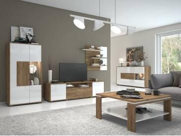 Wohnzimmer Komplett   Set B Manase, 5 Teilig, Farbe: Eiche Braun /