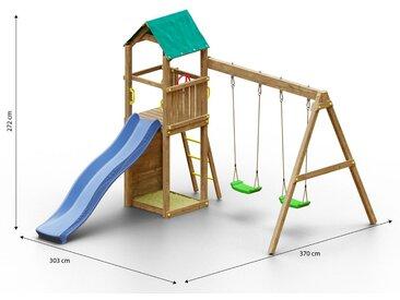Kinderspielturm / Spielanlage inkl. Kletterwand, Doppelschaukel, Sandkasten und Wellenrutsche FSC®