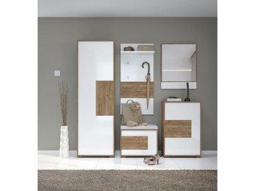 Garderobe Komplett - Set C Manase, 5-teilig, Farbe: Eiche Braun / Weiß Hochglanz