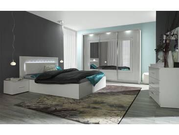 Schlafzimmer Komplett - Set C Psara, 5-teilig, Farbe: Weiß Hochglanz / Alpinweiß