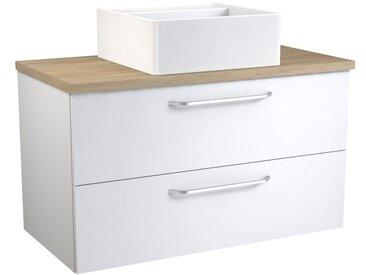 Waschtischunterschrank Barasat 74, Farbe: Weiß glänzend / Eiche – 53 x 90 x 46 cm (H x B x T)
