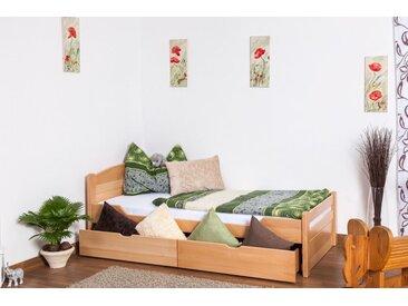 Einzelbett / Funktionsbett Easy Premium Line K1/ Voll inkl 2 Schubladen und 2 Abdeckblenden, 90 x 200 cm Buche Vollholz massiv Natur