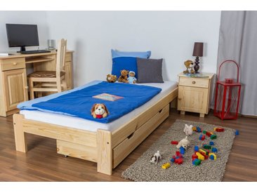 Kinderbett / Jugendbett Kiefer Vollholz massiv natur A10, inkl. Lattenrost - Abmessung 90 x 200 cm