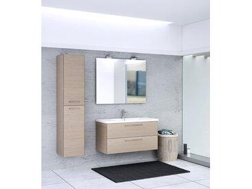Badezimmermöbel - Set V Salem, 3-teilig inkl. Waschtisch / Waschbecken, Farbe: Eiche hell