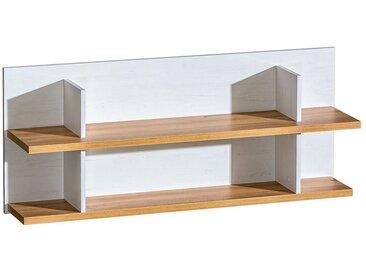 Hängeregal / Wandregal Panduros 11, Farbe: Kiefer Weiß / Eiche Braun - Abmessungen: 50 x 122 x 26 cm (H x B x T)