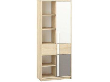 Jugendzimmer - Schrank Greeley 03, Farbe: Buche / Weiß / Platingrau - Abmessungen: 199 x 80 x 40 cm (H x B x T), mit 2 Türen, 1 Schublade und 10 Fächern