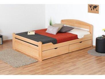 Einzelbett / Gästebett Easy Premium Line K5, inkl. 2 Schubladen und 1 Abdeckblende, 140 x 200 cm Buche Vollholz massiv Natur, inkl. Lattenrost