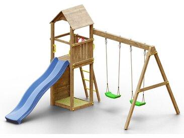 Spielturm K12 inkl. Wellenrutsche, Doppelschaukel, Sandkasten, Kletterwand und Holzdach FSC®