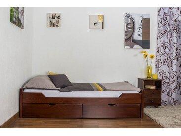 Einzelbett / Funktionsbett Easy Premium Line K1/1n inkl 2 Schubladen und 2 Abdeckblenden, 90 x 200 cm Buche Vollholz massiv Dunkelbraun
