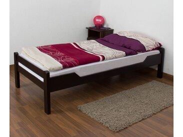 Einzelbett Easy Premium Line K1/1n, Buche Vollholz massiv Schokobraun - Maße: 90 x 190 cm