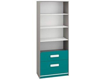 Kinderzimmer - Regal Renton 04, Farbe: Platingrau / Weiß / Blaugrün - Abmessungen: 199 x 80 x 40 cm (H x B x T), mit 2 Schubladen und 4 Fächern