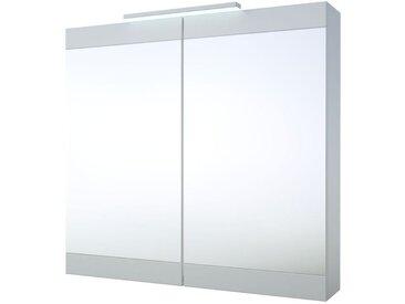 Bad - Spiegelschrank Eluru 04, Farbe: Weiß glänzend – 70 x 75 x 14 cm (H x B x T)