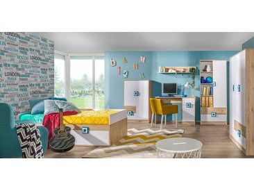 Kinderzimmer Komplett - Set D Fabian, 6-teilig, Farbe: Eiche Hellbraun / Weiß / Blau
