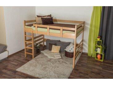 Hochbett für Erwachsene Easy Premium Line K15/n, Buche Vollholz massiv Natur, umbaubar - Liegefläche: 160 x 190 cm