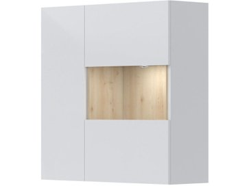 Hängeschrank Matavai 02, Farbe: Weiß Hochglanz / Buche - 90 x 90 x 30 cm (H x B x T)