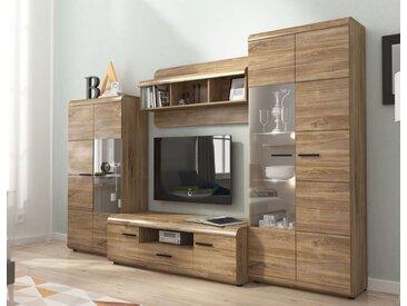 Wohnzimmer Komplett - Set D Gabes, 4-teilig, Farbe: Eiche