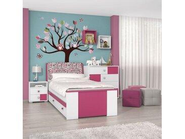 Kinderzimmer Komplett - Set B Lena, 5-teilig, Farbe: Weiß / Pink