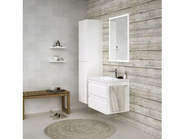 Badezimmermöbel - Set B Bikaner, 3-teilig inkl. Waschtisch / Waschbecken, Farbe: Weiß glänzend