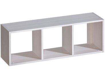 Hängeregal / Wandregal Milo 46, Farbe: Weiß, massiv - 37 x 108 x 25 cm (H x B x T)