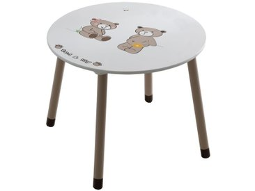 Kindertisch Matteo 02, Farbe: Weiß / Braun - Durchmesser: 60 cm