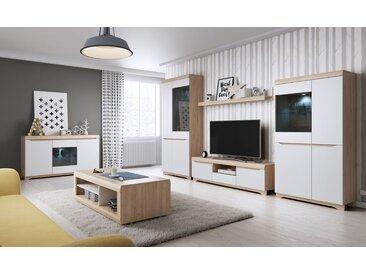 Wohnzimmer Komplett - Set B Bizerte, 6-teilig, Farbe: Buche / Weiß
