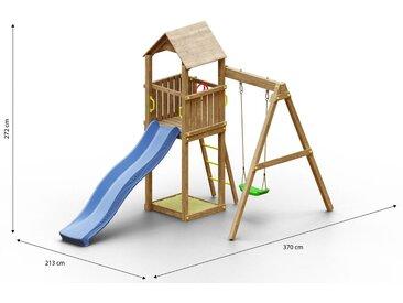 Kinderspielturm / Spielanlage inkl.  Einzelschaukel, Sandkasten, Wellenrutsche und Holzdach FSC®