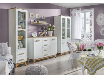 Wohnzimmer Komplett - Set G Panduros, 4-teilig, Farbe: Kiefer Weiß / Eiche Braun