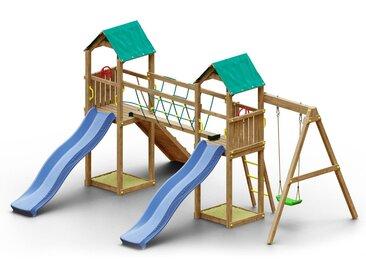 Spielturm K19 inkl. 2 Türme, 2 Wellenrutschen, Einzelschaukel, 2 Sandkästen, Seilbrücke und Rampe mit Kletterseil FSC®