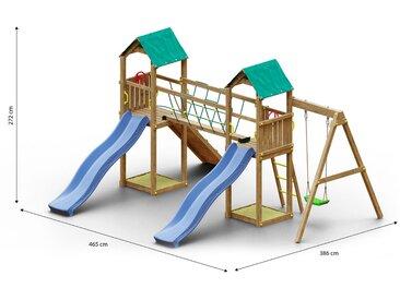Kinderspielturm / Spielanlage inkl. Rampe mit Kletterseil, Einzelschaukel, 2 Türme, 2 Wellenrutschen, Seilbrücke und 2 Sandkästen  FSC®