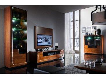 Wohnzimmer Komplett - Set H Lopar, 6-teilig, teilmassiv, Farbe: Nuss / Schwarz