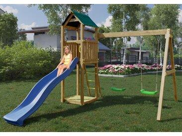 Spielturm / Kletterturm K10 inkl. Wellenrutsche, Doppelschaukel und Sandkasten FSC®