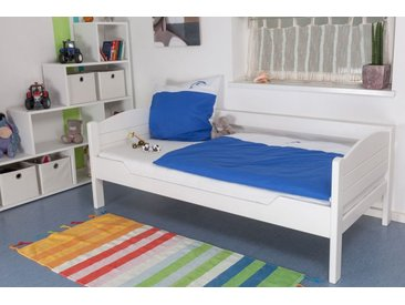 Jugendbett / Kinderbett Easy Premium Line K1/s Voll, 90 x 190 cm Buche Vollholz massiv weiß lackiert