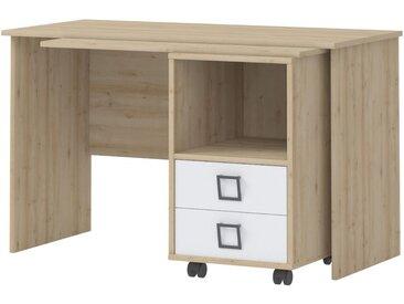 Kinderzimmer - Schreibtisch Benjamin 29, Farbe: Buche / Weiß - 76 x 125 x 60 cm (H x B x T)