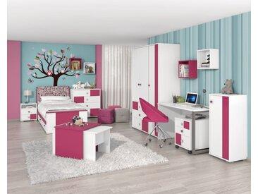 Kinderzimmer Komplett - Set A  Lena, 10-teilig, Farbe: Weiß / Pink