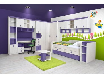 Kinderzimmer Komplett - Set D Luis, 16-teilig, Farbe: Eiche Weiß / Lila
