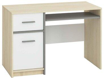 Jugendzimmer - Schreibtisch Jurupa 08, Farbe: Buche / Weiß / Platingrau - Abmessungen: 74 x 110 x 56 cm (H x B x T), mit 1 Tür, 1 Schublade und 2 Fächern
