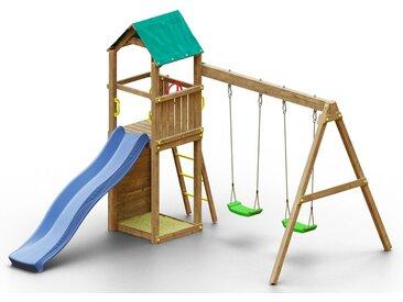 Spielturm K11 inkl. Wellenrutsche, Doppelschaukel, Sandkasten und Kletterwand FSC®