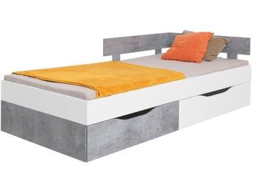 Kinderbett / Jugendbett Lede 16, Farbe: Grau / Weiß - Liegefläche: 120 x 200 cm