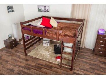 Hochbett für Erwachsene Easy Premium Line K15/n, Buche Vollholz massiv Dunkelbraun, teilbar - Liegefläche: 160 x 200 cm