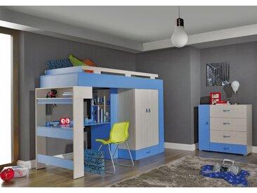 Kinderzimmer Komplett - Set D Felipe, 2-teilig, Blau / Weiß