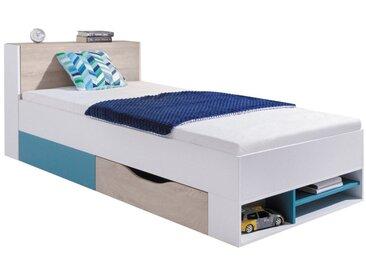 Kinderbett / Jugendbett Aalst 28, Farbe: Eiche / Weiß / Blau - Liegefläche: 90 x 200 cm