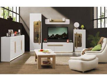 Wohnzimmer Komplett - Set A Lano, 6-teilig, Farbe: Weiß / Eiche Braun