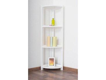 Regal / Eckregal Kiefer massiv Vollholz weiß lackiert Junco 61 - Abmessung 125 x 40 x 30 cm