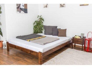 Futonbett / Massivholzbett Kiefer Vollholz massiv Nussfarben A10, inkl. Lattenrost - Abmessung 160 x 200 cm