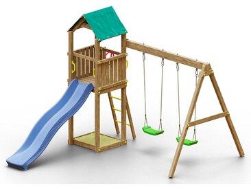 Spielturm K10 inkl. Wellenrutsche, Doppelschaukel und Sandkasten FSC®